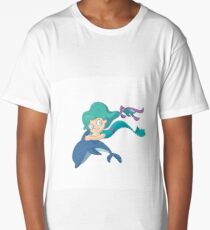 Little mermaid swimming with a dolphin Long T-Shirt