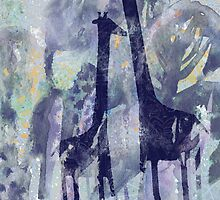 giraffes and trees by Marianna Tankelevich