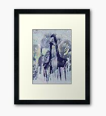giraffes and trees Framed Print