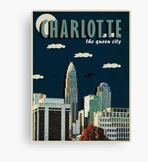 "CHARLOTTE ""QUEEN CITY"" POSTER DESIGN Canvas Print"