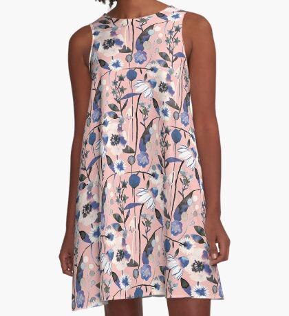 Pink pastel flowers pattern A-Line Dress