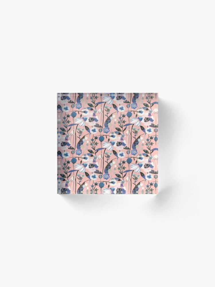 Alternate view of Pink pastel flowers pattern Acrylic Block