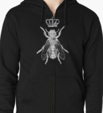 BIG Queen Bee - White for Darker Shirts Zipped Hoodie