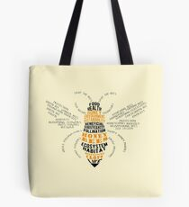 Honey Bee - Biene geformte Wortwolke Tote Bag
