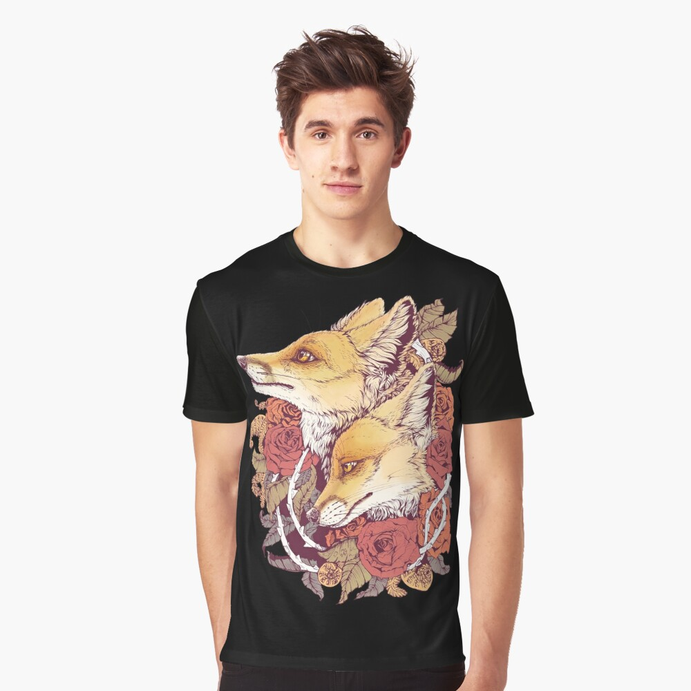 Red Fox Bloom Graphic T-Shirt Front