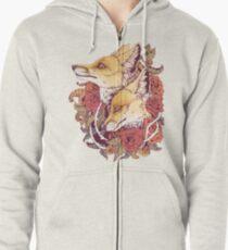 Red Fox Bloom Zipped Hoodie