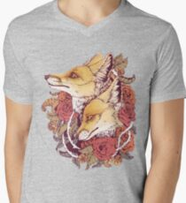 Red Fox Bloom Men's V-Neck T-Shirt