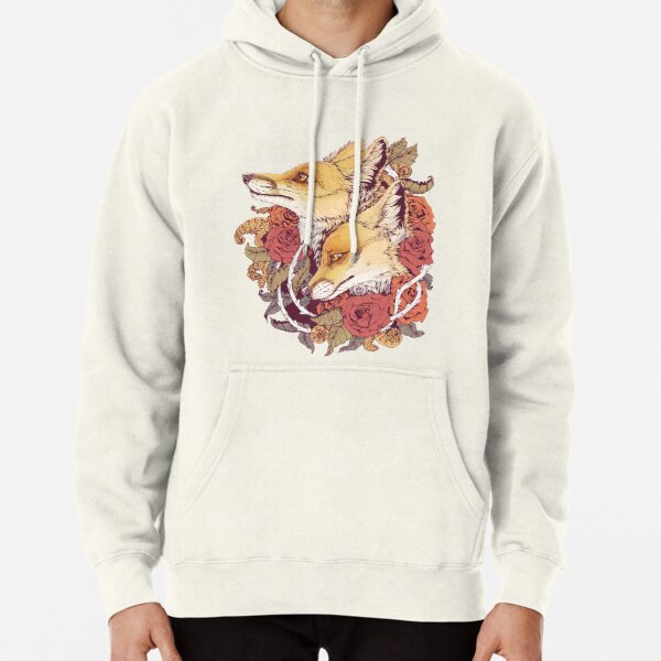 Red Fox Bloom Pullover Hoodie
