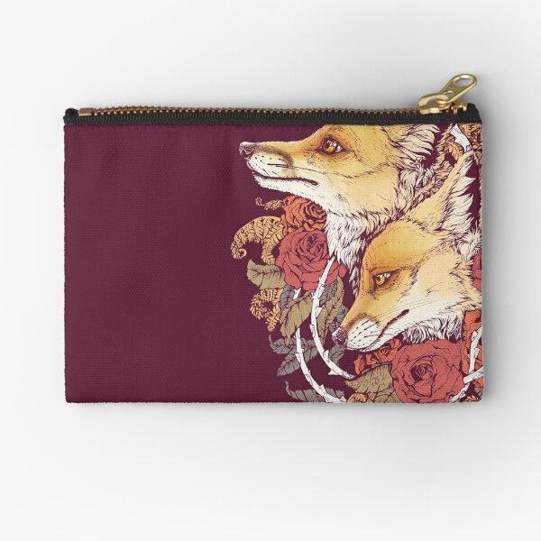 Red Fox Bloom Zipper Pouch