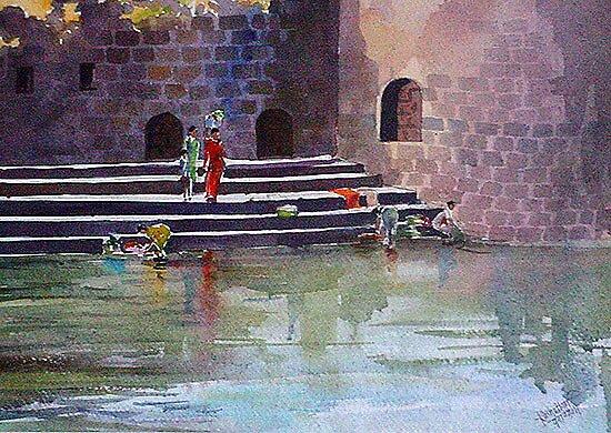 river by Gajanan Kashalkar