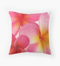 Pink Frangipani Throw Pillow