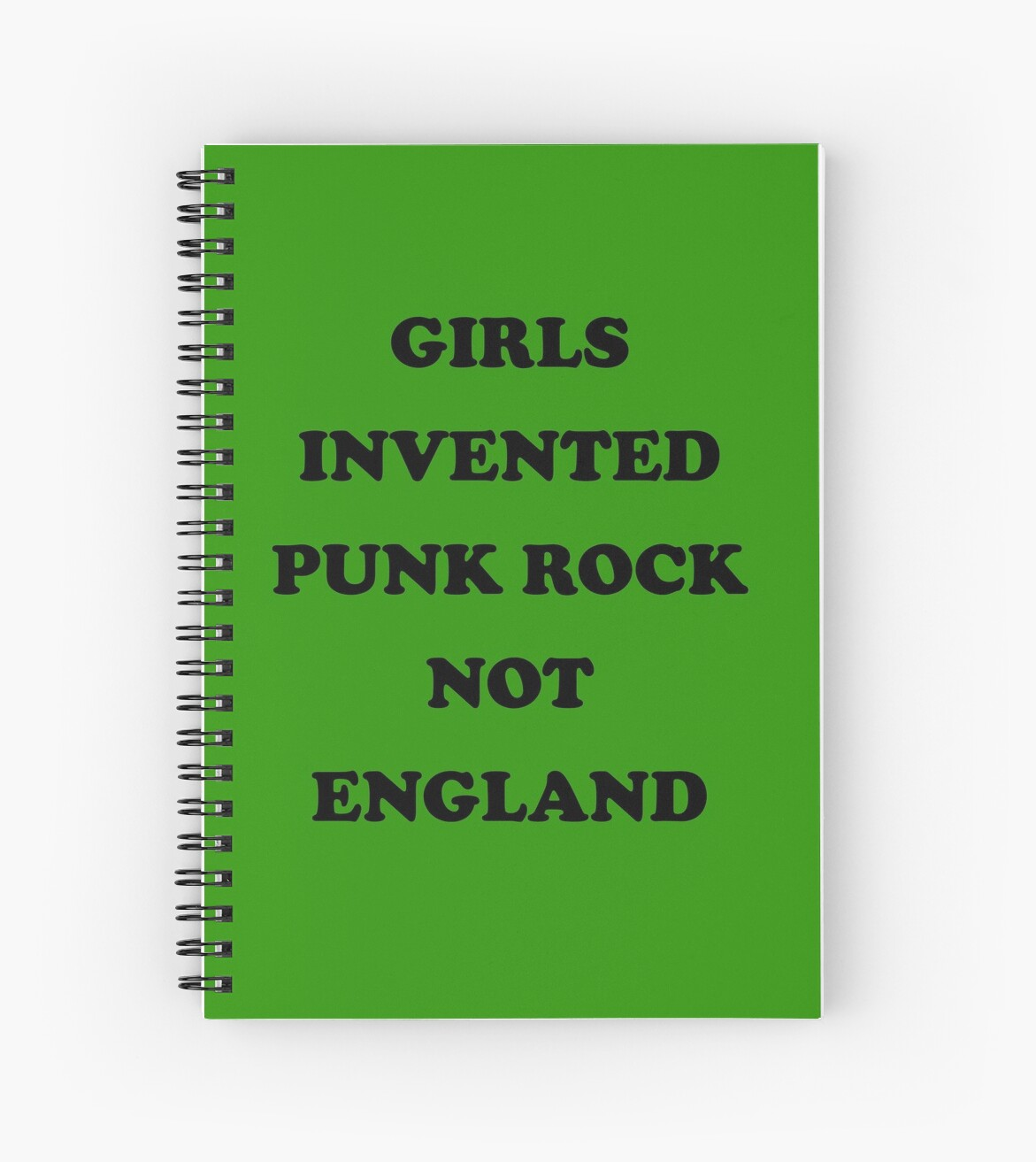girls invented punk rock not england spiral notebooks by fishbiscuit redbubble. Black Bedroom Furniture Sets. Home Design Ideas