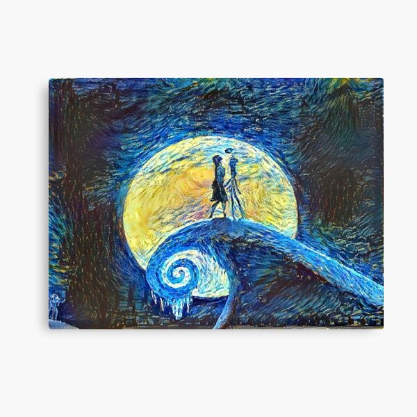 Jack and Sally's Starry Night Canvas Print