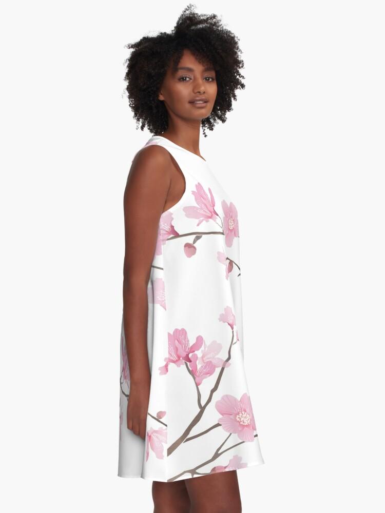 Vista alternativa de Vestido acampanado Flor de cerezo - fondo transparente