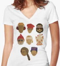 Wes Anderson's Hats Women's Fitted V-Neck T-Shirt