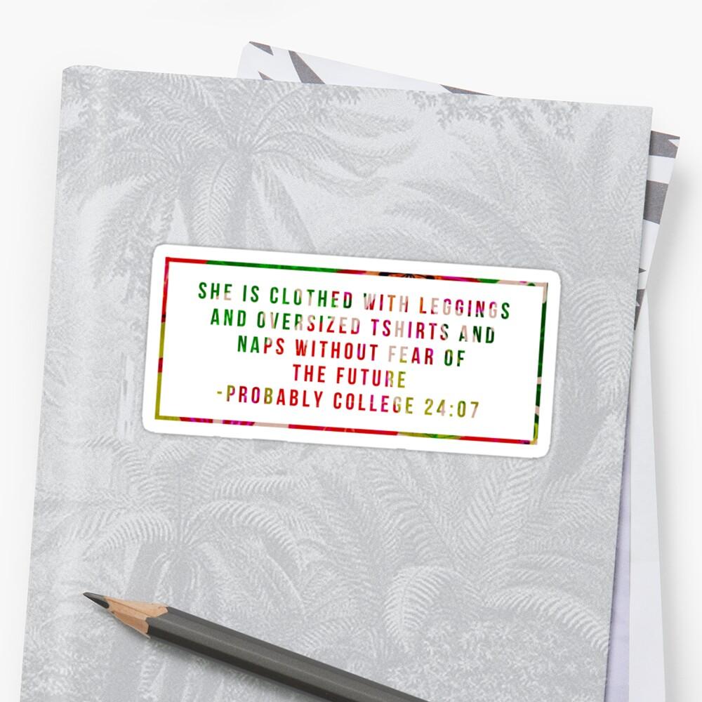 Hochschulbiblisches Zitat - rotes Blumen Sticker