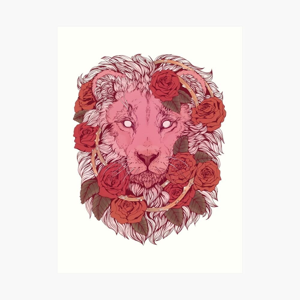 Lion of Roses Art Print