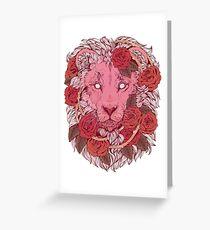 Tarjeta de felicitación León de rosas