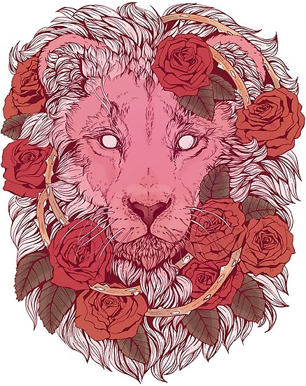 Pink Wall Art - Lion of Roses Photographic Print - Girly Cat Decor