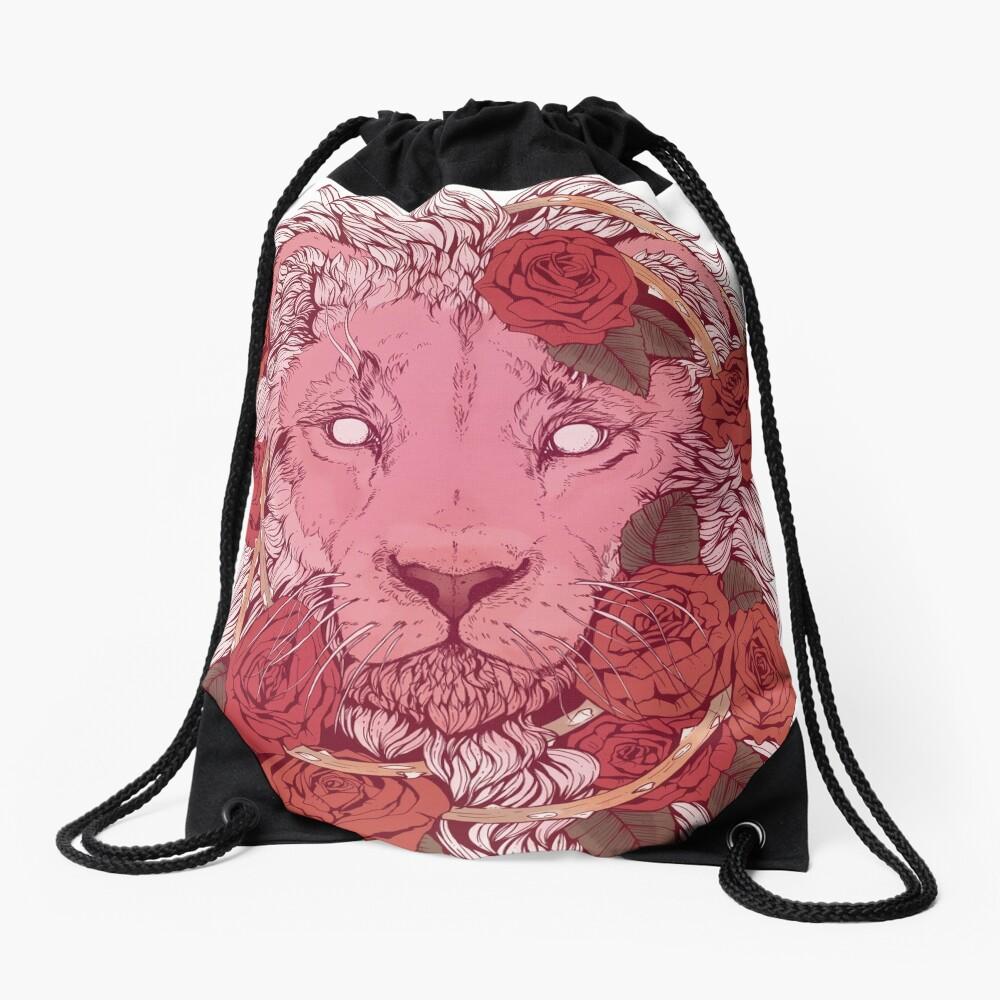 Lion of Roses Drawstring Bag