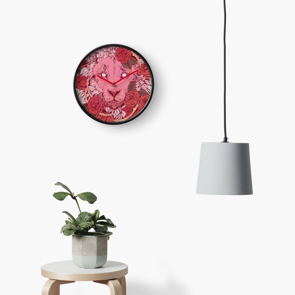Lion of Roses Clock
