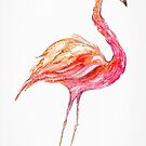 Flamingo Bird - Pink And Coral Watercolors by Ekaterina Chernova