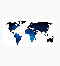 World Map Space Planet Blue Photographic Print
