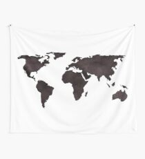 World Map Deep Brown Ink Watercolor Wall Tapestry