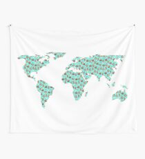 World Map Chocolate Planet Wall Tapestry