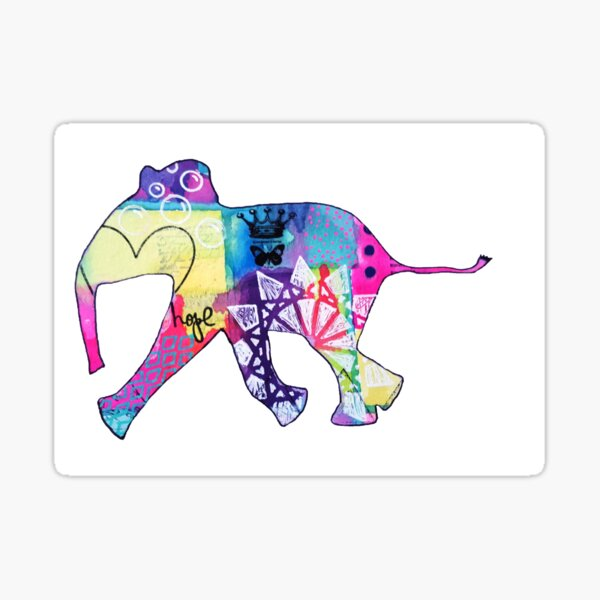 colorful baby elephant silhouette Sticker
