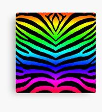 Neon Rainbow Zebra Animal Print Canvas Print