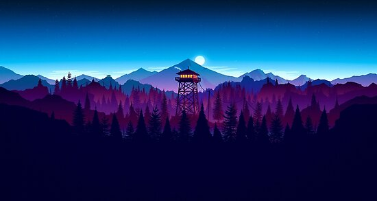 Firewatch Nighttime Art Design - 4k by Colxbat