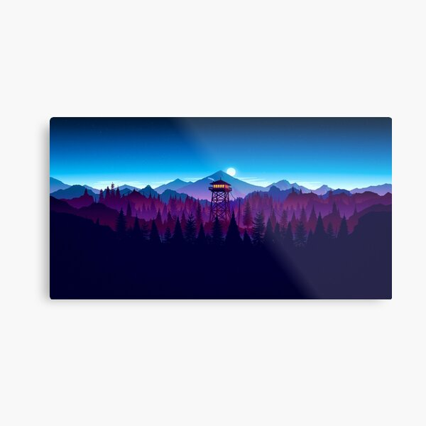 Firewatch Nighttime Art Design - 4k Metal Print