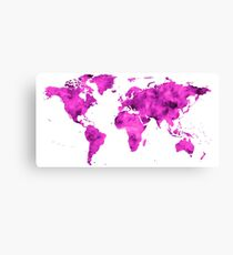 World Map Magenta Planet Canvas Print