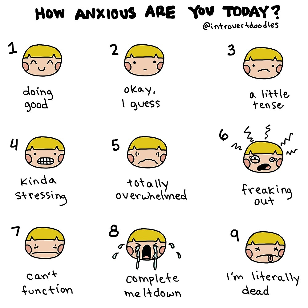 Quot Anxiety Scale Quot By Introvert Doodles Redbubble