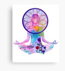Zen Yoga Colorful Silhouette Metal Print