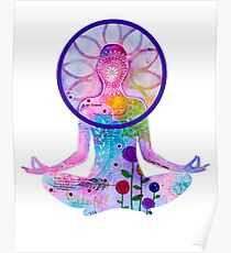 Zen Yoga Colorful Silhouette Poster