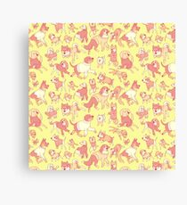 Dogs In Sweaters (Yellow) Canvas Print