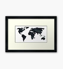 World Map Black Watercolor Ink Framed Print