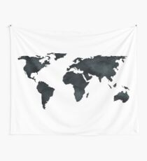 World Map Black Watercolor Ink Wall Tapestry