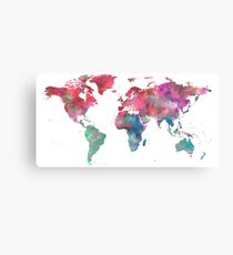 World Map Hot Pink Green Blue Canvas Print
