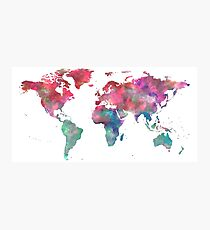World Map Hot Pink Green Blue Photographic Print