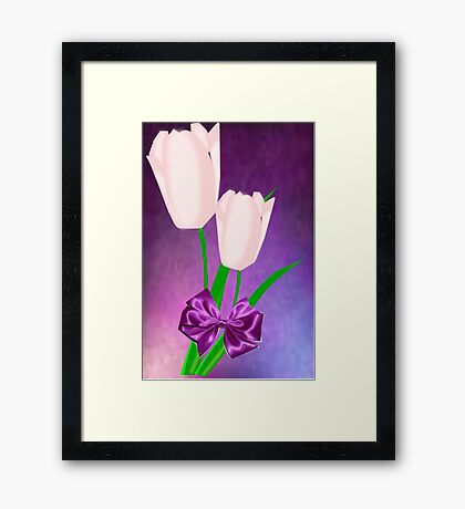 2 Pink Tulips (9016 Views) Framed Print