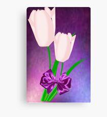2 Pink Tulips (9016 Views) Canvas Print
