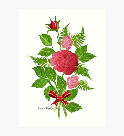 Roses & Ferns   (1504 Views) Art Print