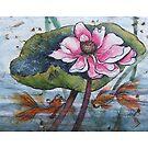 water colour koi fish under lotus by Vickyh