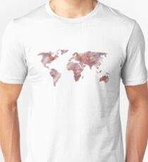 World Map in City Mod Red Slate Unisex T-Shirt