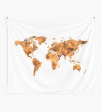 World Map in Orange Desert Sand Wall Tapestry