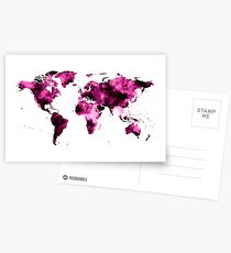 World Map in Pink Paint Postcards
