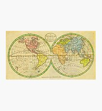 Vintage World Map 1798 Photographic Print
